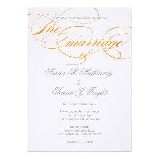 Convite elegante do casamento do roteiro - laranja