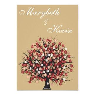 convite elegante do noivado da árvore da flor