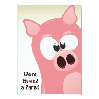 Convite engraçado bonito do aniversário do porco