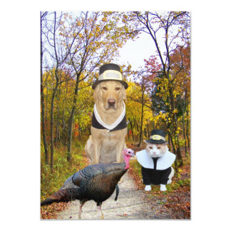 Convite engraçado da acção de graças dos animais