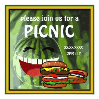 Convite engraçado do piquenique da melancia