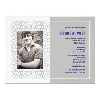 Convite estrelado de Mitzvah do bar do quadro Convite 16.51 X 22.22cm