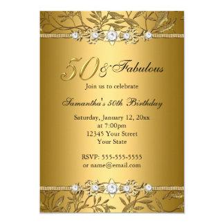Convite fabuloso do aniversário da folha 50 da convite 12.7 x 17.78cm