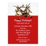 Convite feliz da festa natalícia da rena maluco
