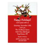 Convite feliz da festa natalícia da rena maluco convite 12.7 x 17.78cm