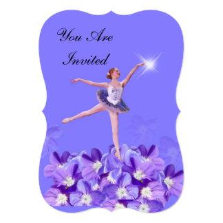 Convite, festa de aniversário, bailarina convite 12.7 x 17.78cm