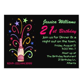 Convite festivo do aniversário de 21 anos