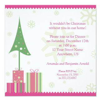 Convite festivo do Natal do rosa e do verde