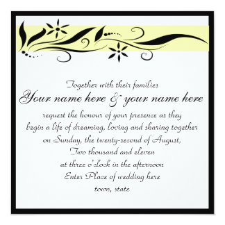 Convite floral amarelo e preto do casamento