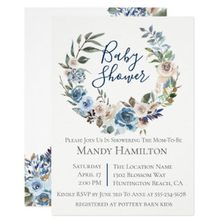 Convite floral azul empoeirado do chá de fraldas