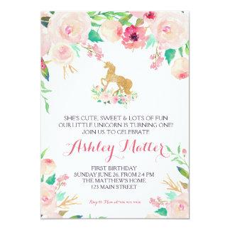 Convite floral bonito do rosa do aniversário do