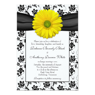 Convite floral branco do casamento do preto