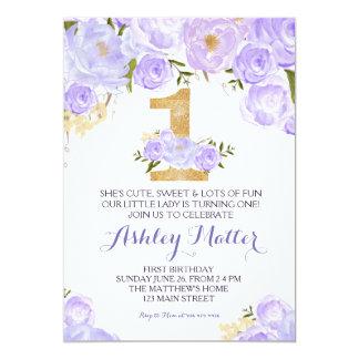 Convite floral da primeira aguarela roxa do