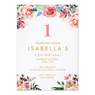 Convite floral do aniversário das meninas da
