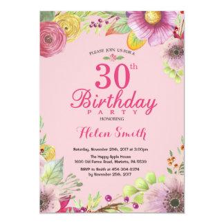 Convite floral do aniversário de 30 anos para