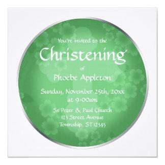 Convite floral do batismo do verde de jade do