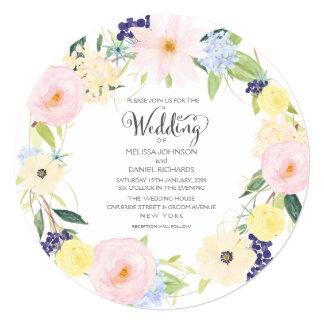 Convite floral do casamento da grinalda do