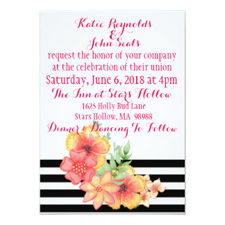 Convite floral do casamento da listra preta &