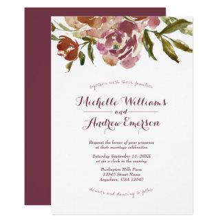Convite floral do casamento da queda de Borgonha