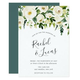 Cartão Convite floral do casamento do alabastro