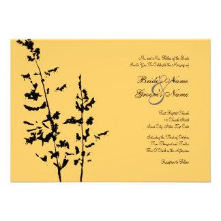 Convite floral do casamento do país preto e amarel