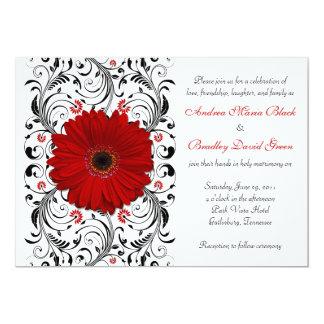 Convite floral do casamento do preto vermelho da
