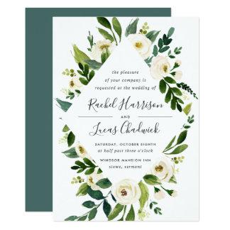 Cartão Convite floral do casamento do quadro do alabastro