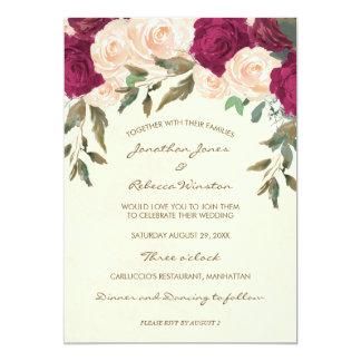 convite floral do chá de casamento de Borgonha do