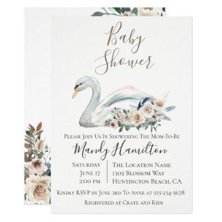 Convite floral do chá de fraldas da cisne elegante