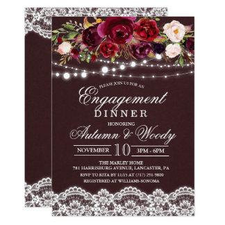 Convite floral do comensal do noivado do outono da