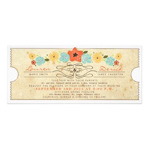 Convite floral do comprimento do chá do bilhete do