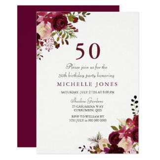 Convite floral elegante do aniversário de Borgonha