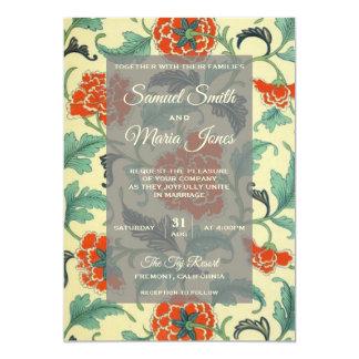 Convite floral japonês do casamento do vintage