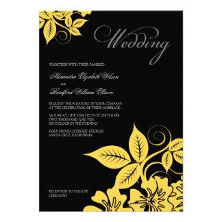 Convite floral moderno amarelo do preto casamento