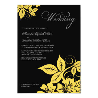 Convite floral moderno amarelo/do preto casamento convite 12.7 x 17.78cm