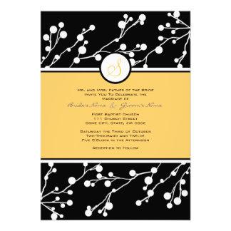 Convite floral preto amarelo do casamento do mon