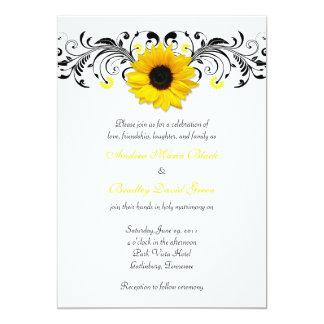 Convite floral preto & branco do girassol do