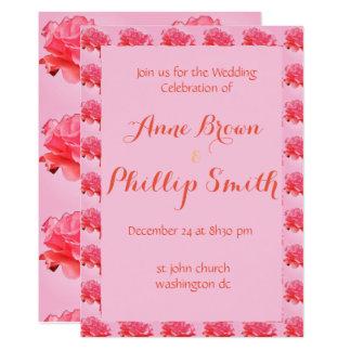 Convite floral romântico cor-de-rosa do casamento