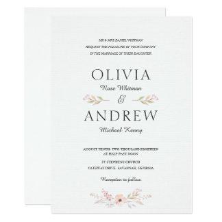 Convite floral romântico & elegante do casamento