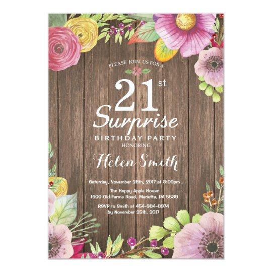 Convite Floral Rústico Do Aniversário De 21 Anos Zazzle Portugal