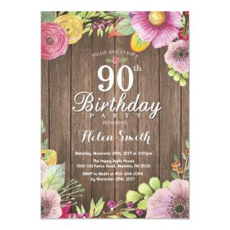 Convite floral rústico do aniversário do 90 para