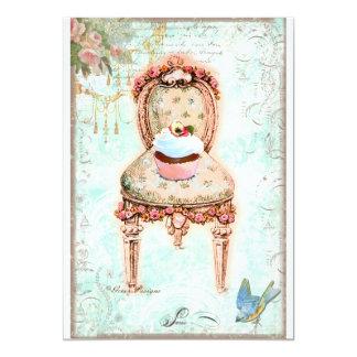 Convite francês do Victorian do cupcake Convite 12.7 X 17.78cm