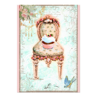 Convite francês do Victorian do cupcake
