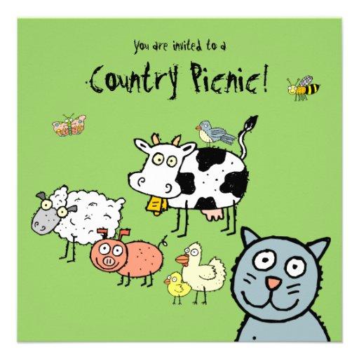 Convite Funky do piquenique do país da fazenda