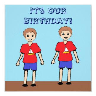 Convite gêmeo do aniversário dos meninos