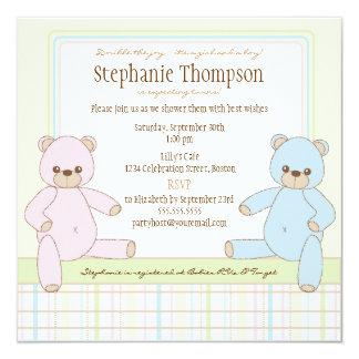Convite gêmeo do chá de fraldas dos ursos de