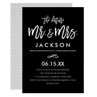 Convite indicado por letras da festa de noivado da