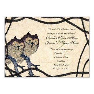 Convite japonês do casamento da coruja do vintage