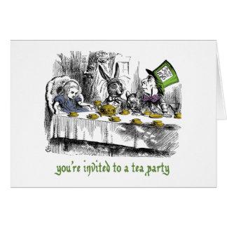 Convite louco do tea party cartoes