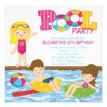 Convite louro da festa na piscina do verão do aniv